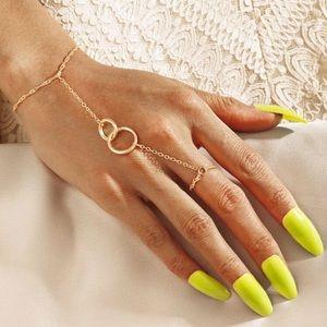 Boho delicate gold chain hand bracelet